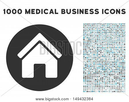 Real Estate icon with 1000 medical commercial gray and blue vector pictographs. Clipart style is flat bicolor symbols, white background.