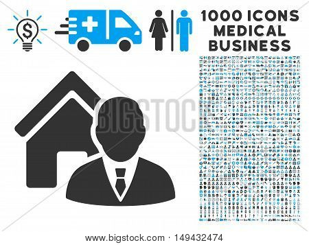 Realtor icon with 1000 medical business gray and blue vector pictograms. Design style is flat bicolor symbols, white background.