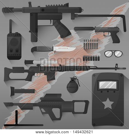 Vector set of swat, police gear. Icons of army combat weapons: rifle and grenade, gun and armor, bullet and radio. Military symbols. Flat illustration isolated on white.