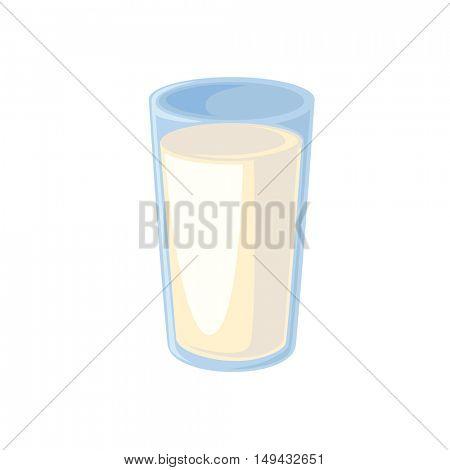 Glass of milk isolated on white. Vector illustration