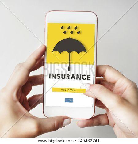 Mobile Device Graphic Insurance  Concept