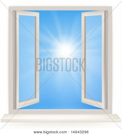 Open window against a white wall and the cloudy sky and sun. Conceptual shot of freedom. Vector.