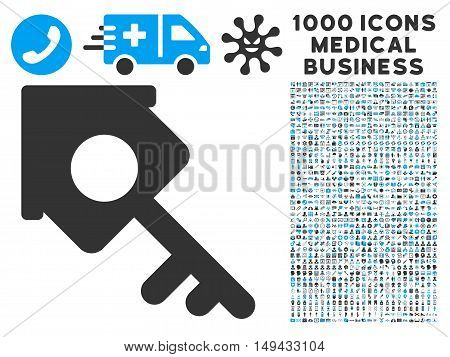 Realty Access icon with 1000 medical commercial gray and blue vector design elements. Design style is flat bicolor symbols, white background.