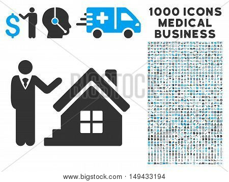 Realty Agent icon with 1000 medical business gray and blue vector design elements. Clipart style is flat bicolor symbols, white background.