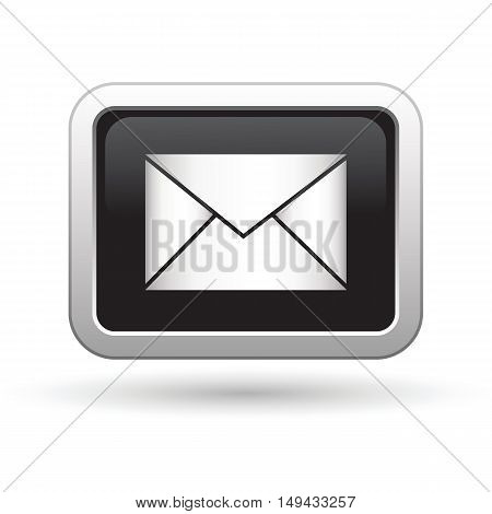 Mail icon on the button. Vector illustration