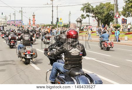 St. Petersburg, Russia - 13 August, The parade of bikers in town,13 August, 2016. The annual parade of Harley Davidson in the squares and streets of St. Petersburg.