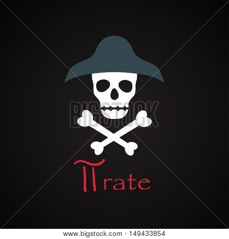 Pirate illustration - funny inscription template design