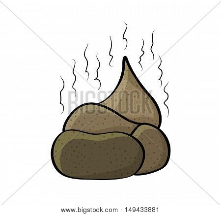 Stinky pile of colored poop. Cartoon funny nasty illustration of brown isolated on white background.