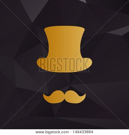 Hipster Accessories Design. Golden Style On Background With Polygons.