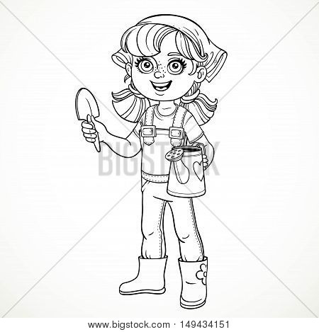 Cute little girl in jeans overalls and rubber boots holding a watering for flowers and shovel line drawing for coloring on a white background
