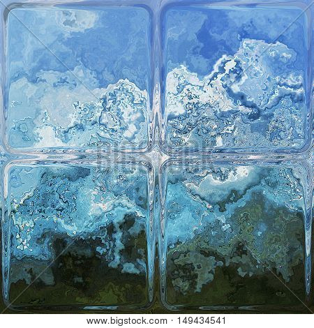 Abstract background resembling frosted window covered with ice. Blue, white and black glass texture with ice