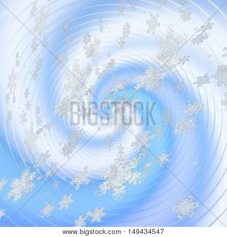 Winter background with swirling snowflakes and ice concentric spiral. White and blue background with spirals and flying snowflakes
