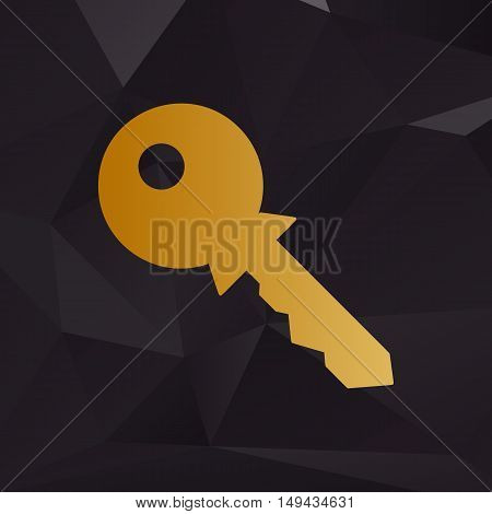 Key Sign Illustration. Golden Style On Background With Polygons.
