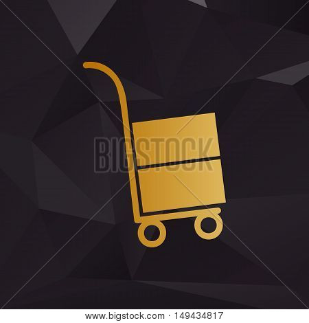 Hand Truck Sign. Golden Style On Background With Polygons.