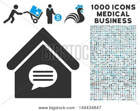 Realty Message icon with 1000 medical commerce gray and blue vector design elements. Set style is flat bicolor symbols, white background.
