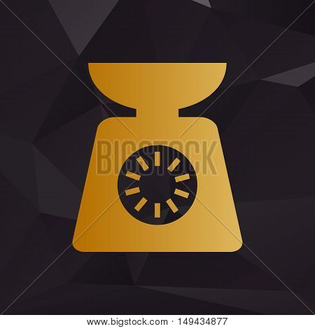 Kitchen Scales Sign. Golden Style On Background With Polygons.