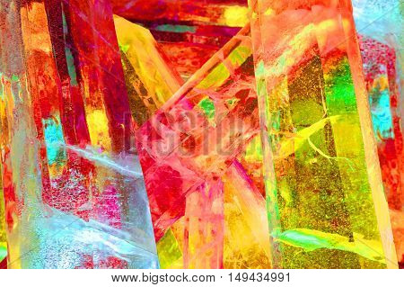 Giant colored ice crystals in red yellow and blue from the ice festival harbin China