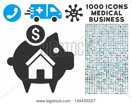 Realty Piggy Bank icon with 1000 medical commercial gray and blue vector pictograms. Set style is flat bicolor symbols, white background.