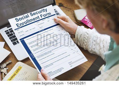 Social Security Enrollment Form Document Concept