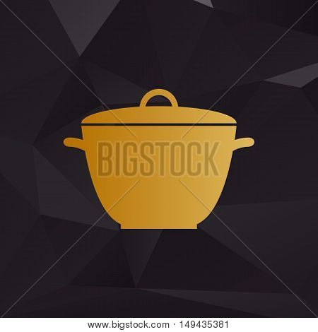 Saucepan Simple Sign. Golden Style On Background With Polygons.