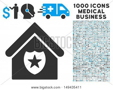 Realty Protection icon with 1000 medical commercial gray and blue vector pictograms. Set style is flat bicolor symbols, white background.