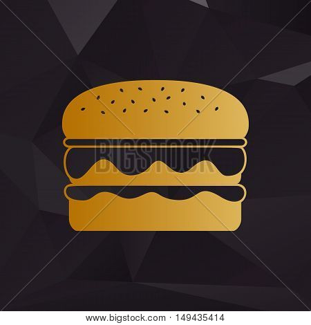 Burger Simple Sign. Golden Style On Background With Polygons.