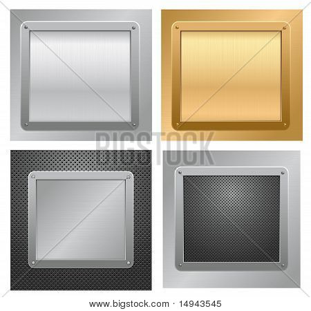 Four metallic plaque backgrounds. Vector.
