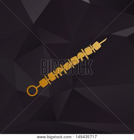 Shish Kebab On Skewers Sign. Golden Style On Background With Polygons.