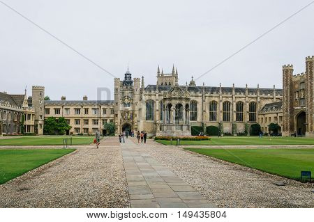CAMBRIDGE UK - AUGUST 11 2015: Trinity College Great Court in the University of Cambridge. Cambridge is a university city and one of the top five universities in the world.