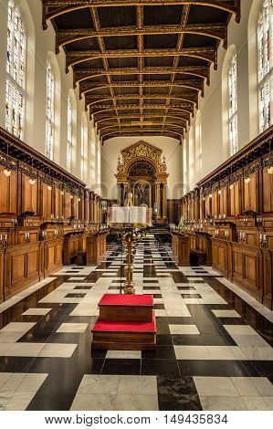 CAMBRIDGE UK - AUGUST 11 2015: Trinity College Chapel in the University of Cambridge. It´s well known the choir. Cambridge is a university city and one of the top five universities in the world.