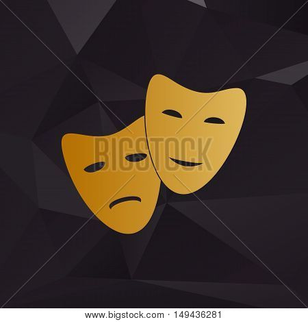 Theater Icon With Happy And Sad Masks. Golden Style On Background With Polygons.