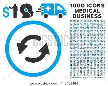 Refresh CCW icon with 1000 medical commercial gray and blue vector pictographs. Collection style is flat bicolor symbols, white background.