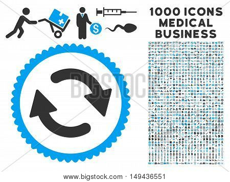 Refresh icon with 1000 medical business gray and blue vector pictographs. Clipart style is flat bicolor symbols, white background.