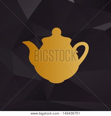 Tea Maker Kitchen Sign. Golden Style On Background With Polygons.