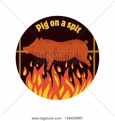 Grilled pig. Pig on spit. Roasting piglet. BBQ pork. Color vector illustration