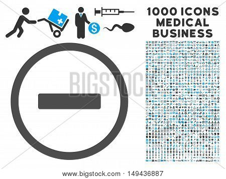Remove icon with 1000 medical commercial gray and blue vector design elements. Set style is flat bicolor symbols, white background.