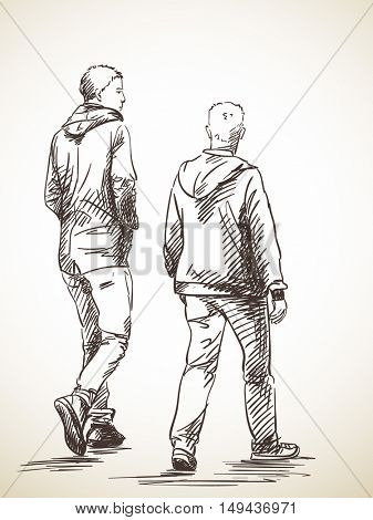 Sketch of two walking men, Hand drawn illustration