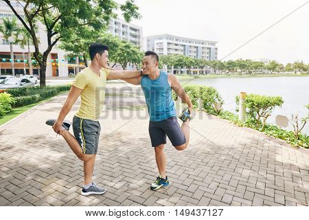 best friends enjoying working out in the morning