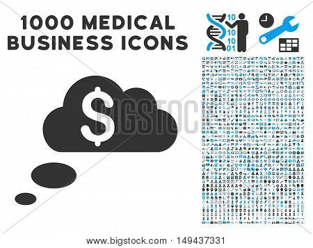 Richness Dream Clouds icon with 1000 medical business gray and blue vector design elements. Clipart style is flat bicolor symbols, white background.