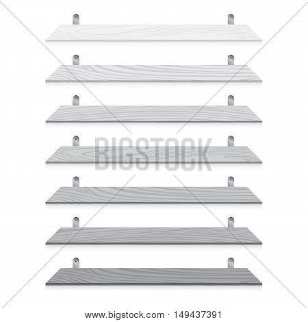 White blank wooden bookshelf set isolated on white background.