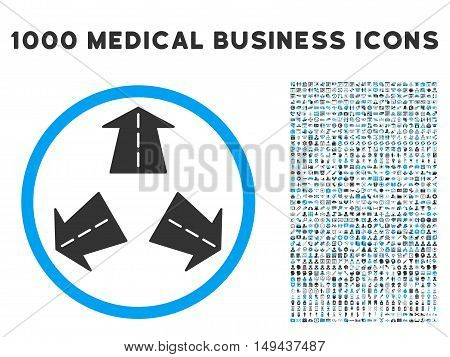 Road Directions icon with 1000 medical business gray and blue vector pictograms. Collection style is flat bicolor symbols, white background.