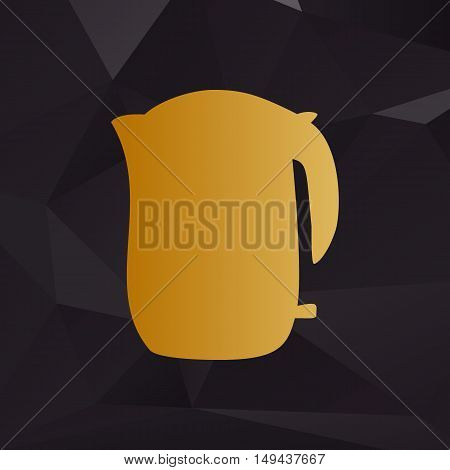 Electric Kettle Sign. Golden Style On Background With Polygons.