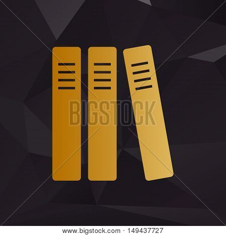 Row Of Binders, Office Folders Icon. Golden Style On Background With Polygons.