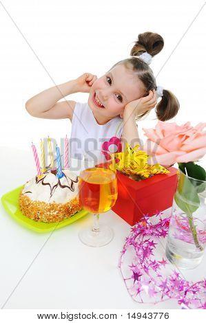 Beautiful little girl celebrates birthday