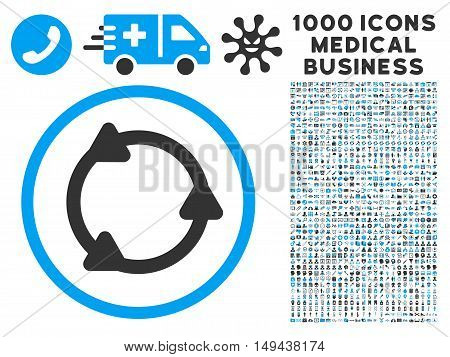 Rotate icon with 1000 medical commerce gray and blue vector pictograms. Design style is flat bicolor symbols, white background.