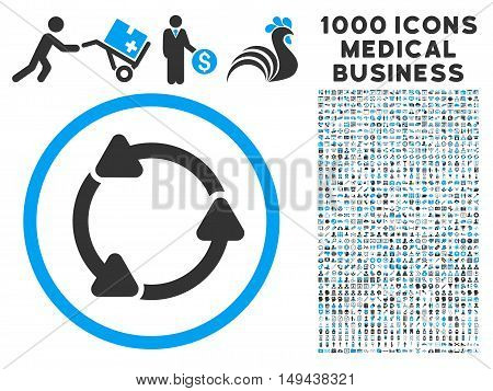 Rotate CCW icon with 1000 medical commercial gray and blue vector pictograms. Clipart style is flat bicolor symbols, white background.