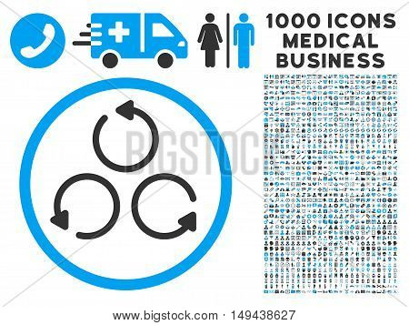 Rotation icon with 1000 medical business gray and blue vector pictographs. Set style is flat bicolor symbols, white background.