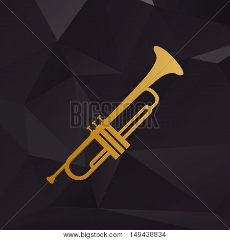 Musical Instrument Trumpet Sign. Golden Style On Background With Polygons.