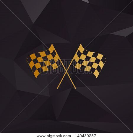 Crossed Checkered Flags Logo Waving In The Wind Conceptual Of Motor Sport. Golden Style On Backgroun
