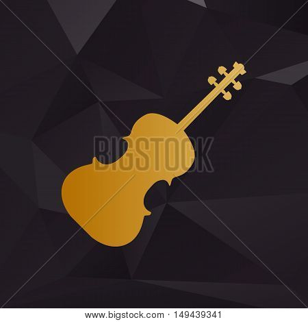 Violine Sign Illustration. Golden Style On Background With Polygons.
